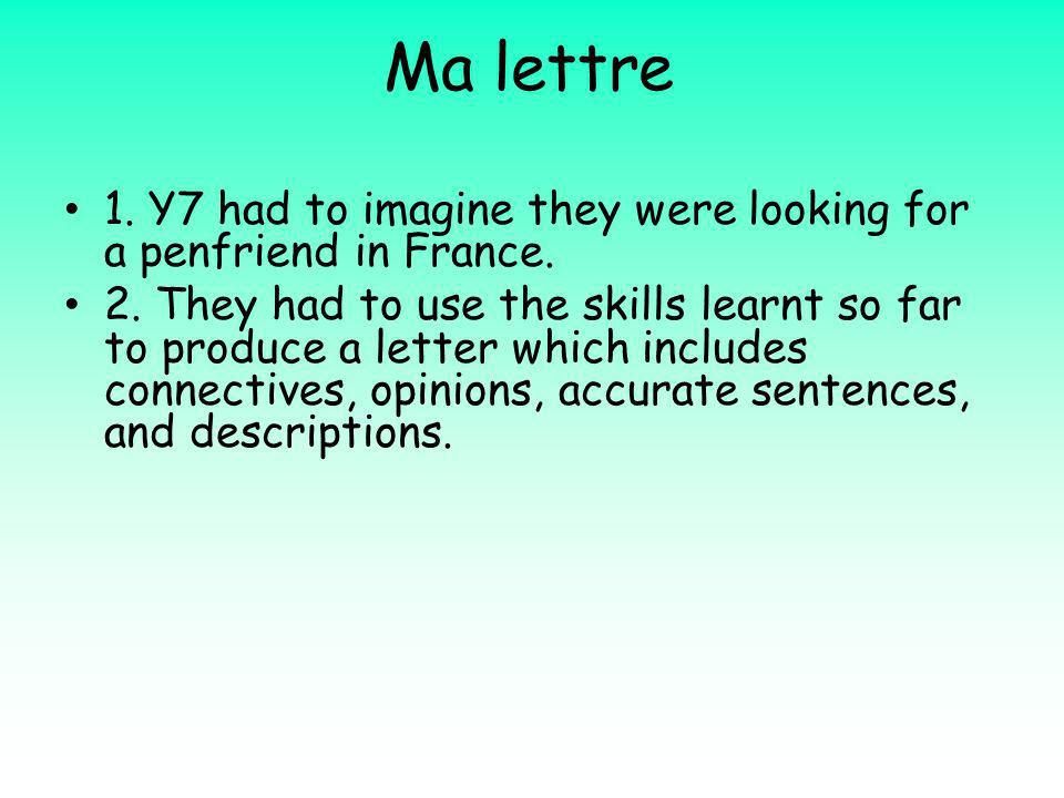 Ma lettre 1. Y7 had to imagine they were looking for a penfriend in France.