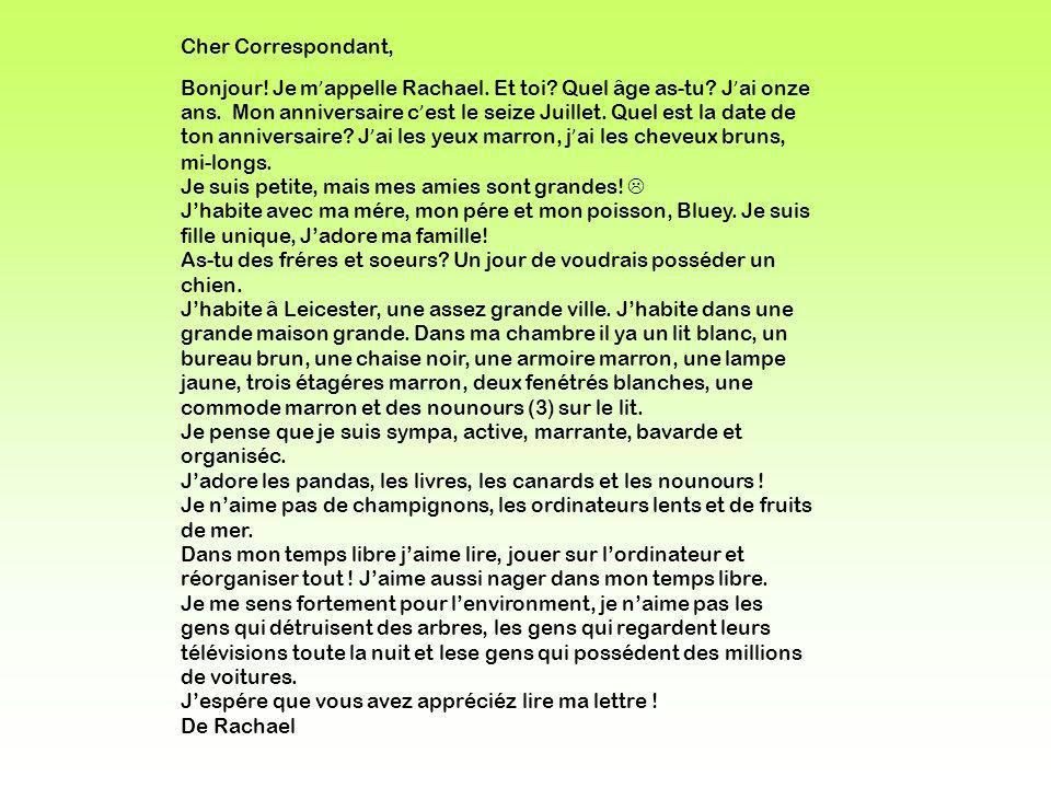 Cher Correspondant,