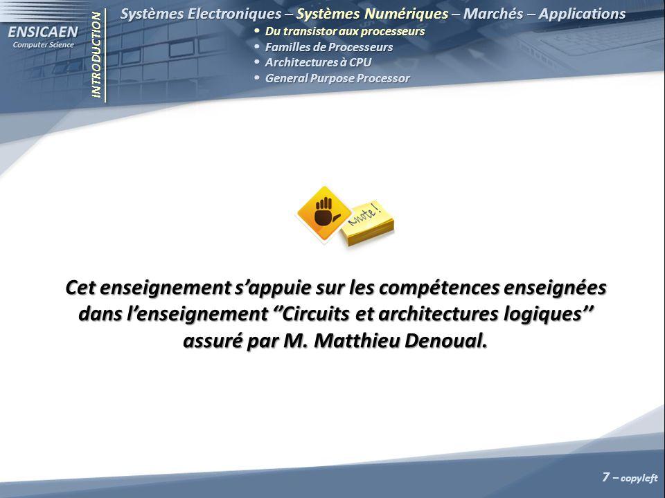 Systèmes Electroniques – Systèmes Numériques – Marchés – Applications