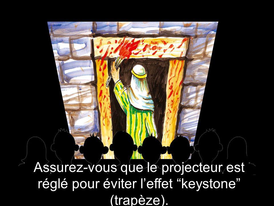 Assurez-vous que le projecteur est réglé pour éviter l'effet keystone (trapèze).