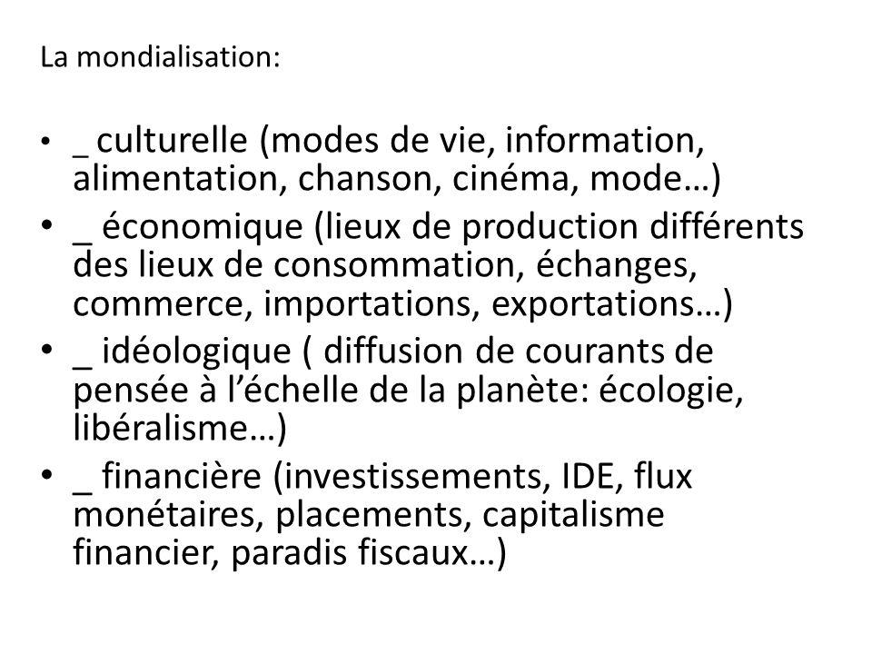 La mondialisation: _ culturelle (modes de vie, information, alimentation, chanson, cinéma, mode…)