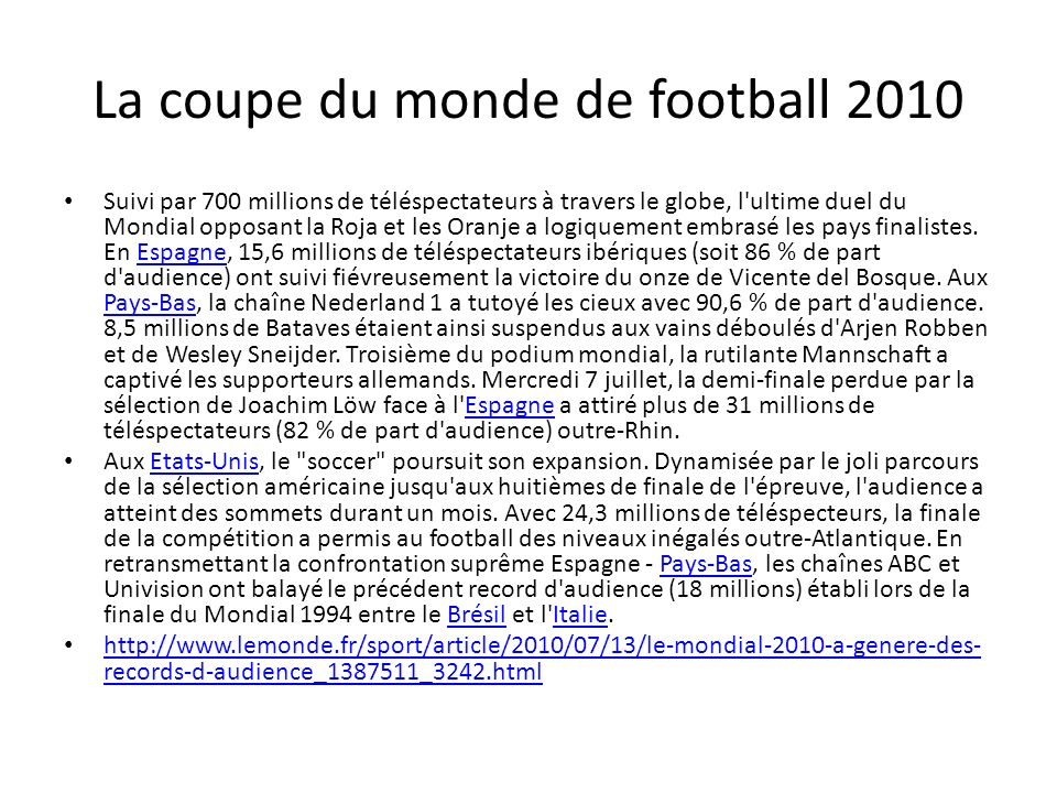 La coupe du monde de football 2010