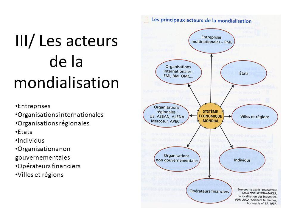 III/ Les acteurs de la mondialisation