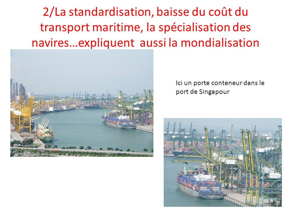 2/La standardisation, baisse du coût du transport maritime, la spécialisation des navires…expliquent aussi la mondialisation