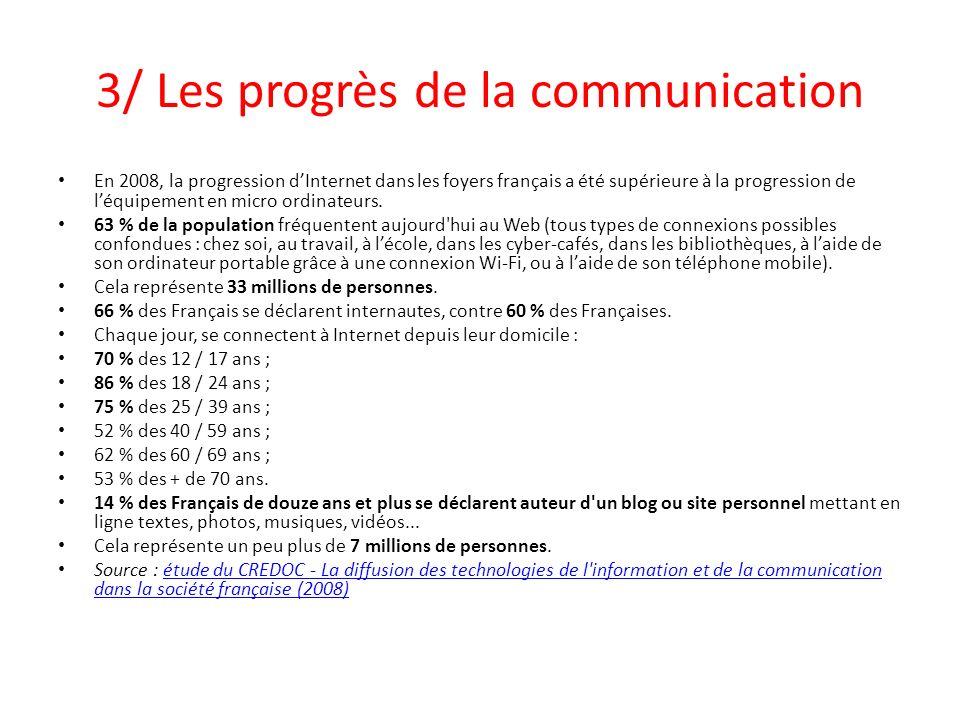 3/ Les progrès de la communication