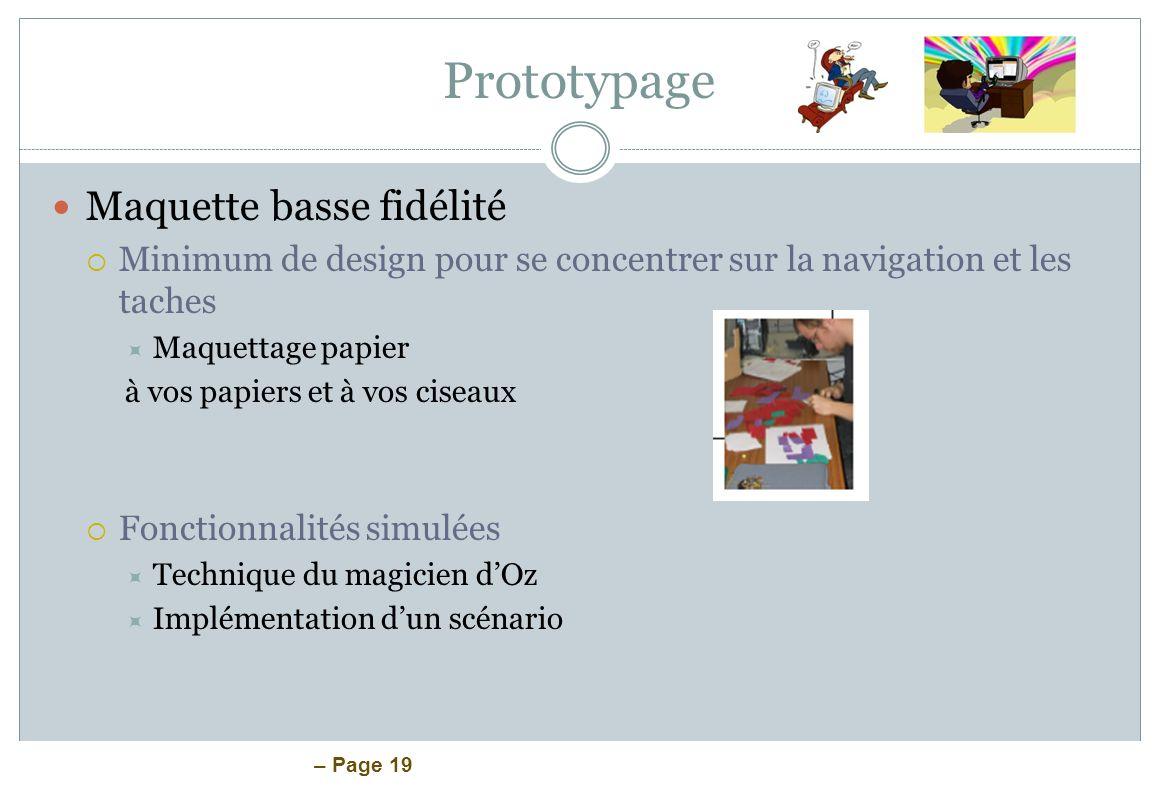 Prototypage Maquette basse fidélité