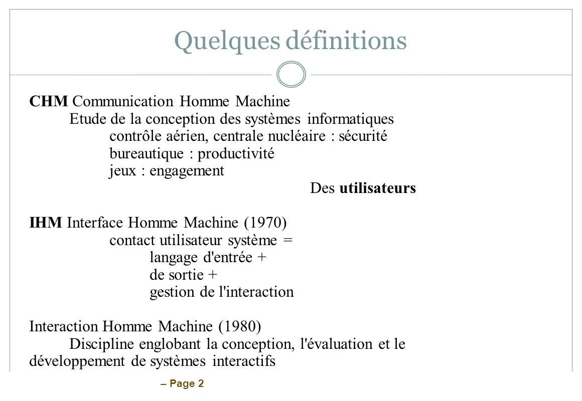 Quelques définitions CHM Communication Homme Machine