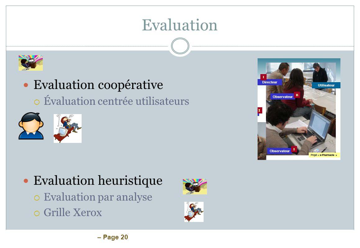 Evaluation Evaluation coopérative Evaluation heuristique