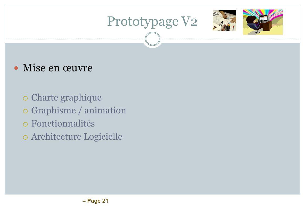 Prototypage V2 Mise en œuvre Charte graphique Graphisme / animation