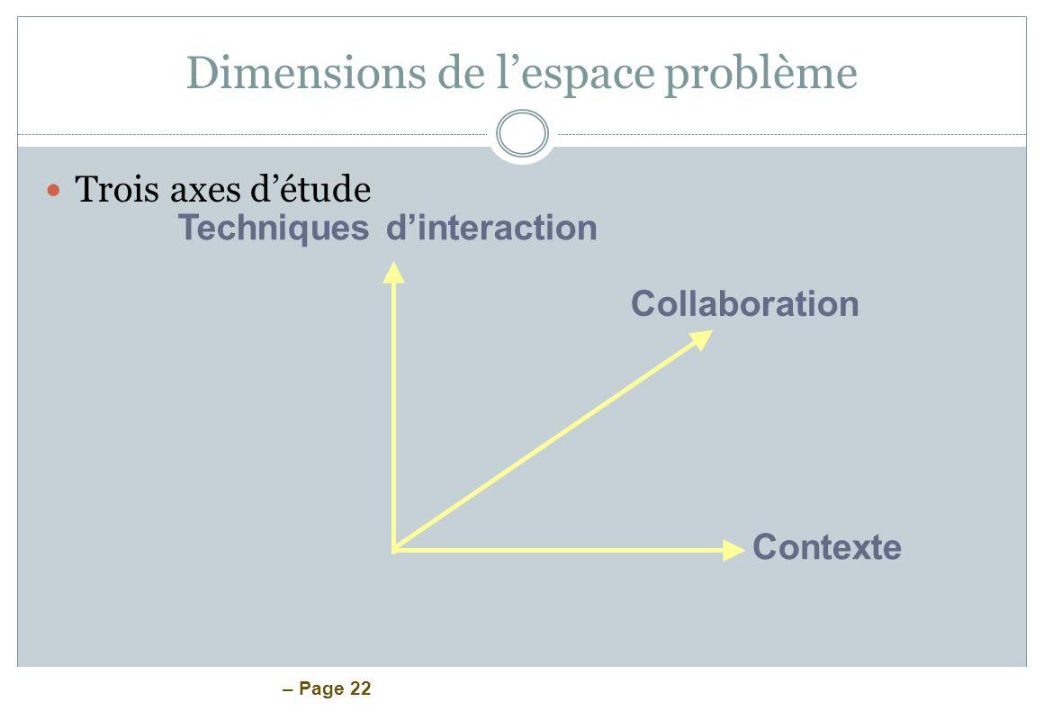 Dimensions de l'espace problème