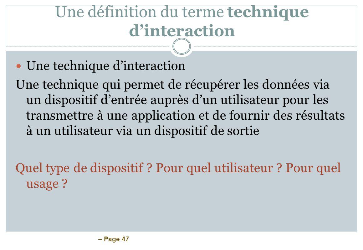 Une définition du terme technique d'interaction