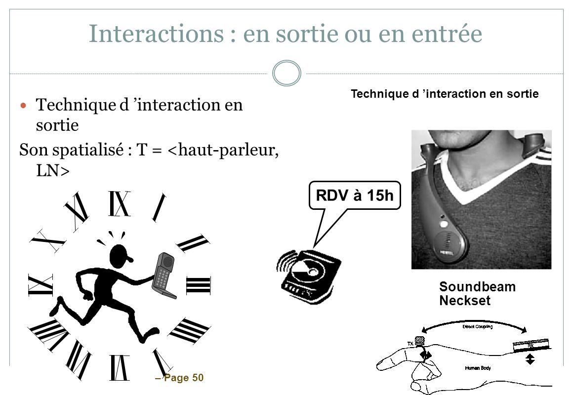 Interactions : en sortie ou en entrée