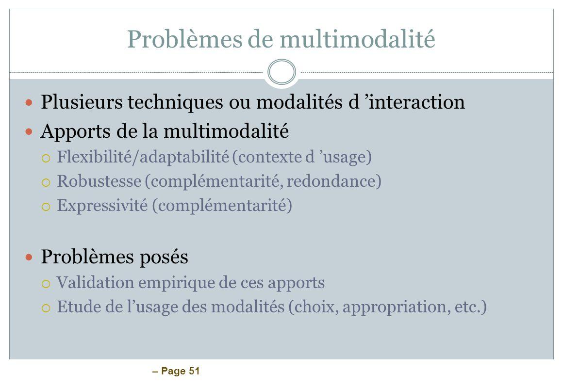 Problèmes de multimodalité