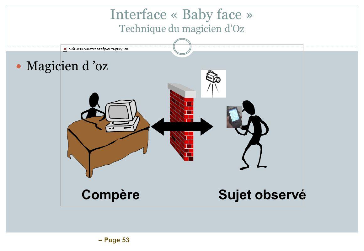 Interface « Baby face » Technique du magicien d'Oz