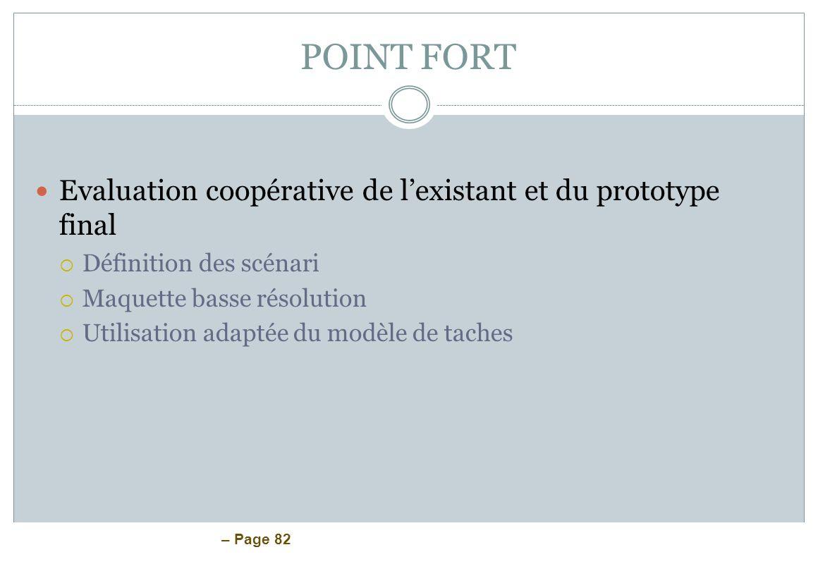 POINT FORT Evaluation coopérative de l'existant et du prototype final