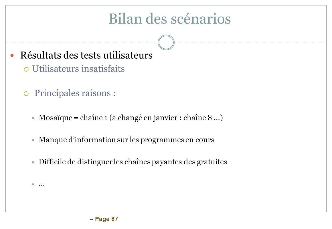 Bilan des scénarios Résultats des tests utilisateurs