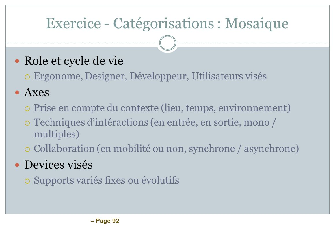 Exercice - Catégorisations : Mosaique
