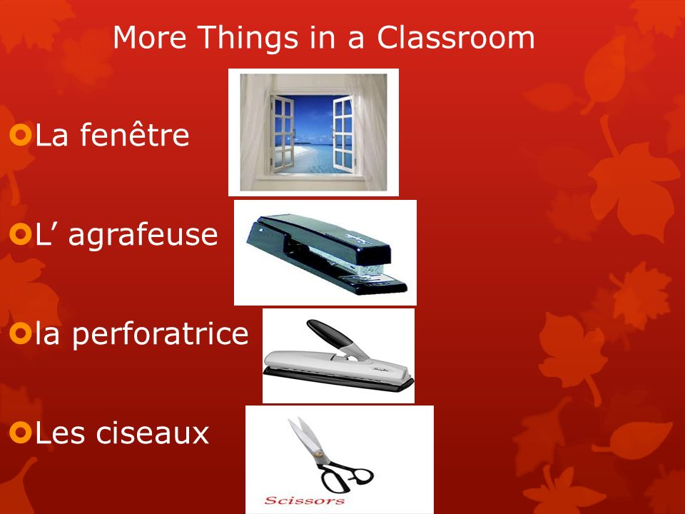 More Things in a Classroom