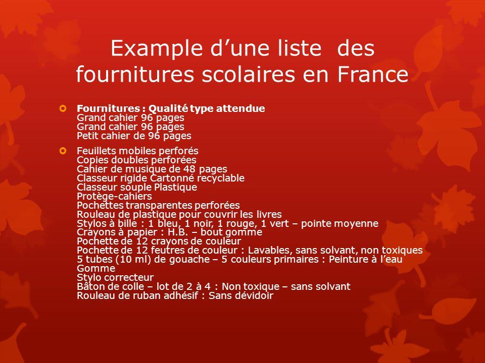 Example d'une liste des fournitures scolaires en France