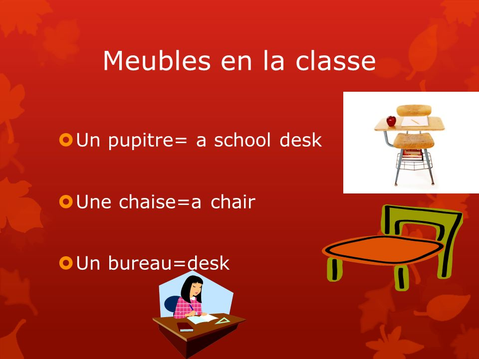 Meubles en la classe Un pupitre= a school desk Une chaise=a chair