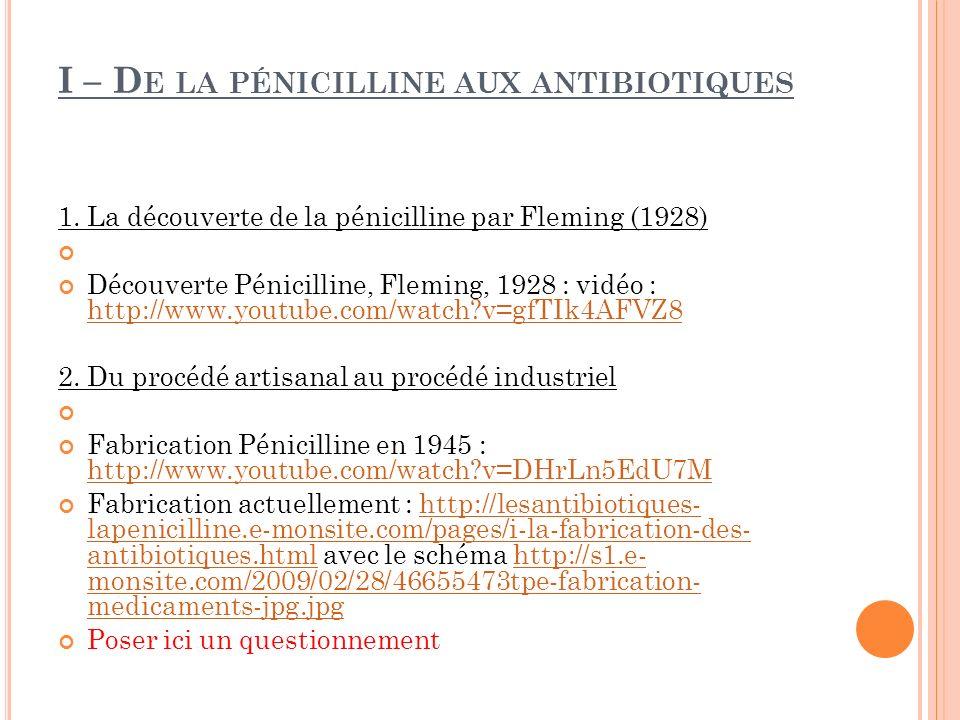 I – De la pénicilline aux antibiotiques