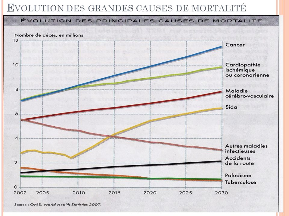 Evolution des grandes causes de mortalité