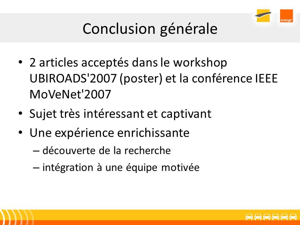 Conclusion générale 2 articles acceptés dans le workshop UBIROADS 2007 (poster) et la conférence IEEE MoVeNet 2007.