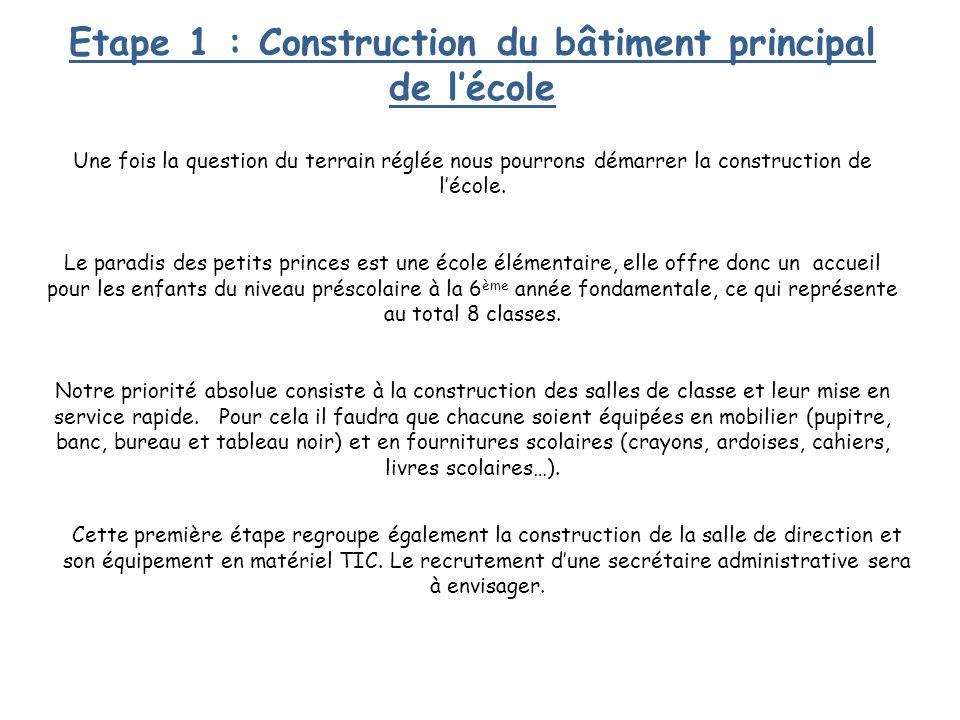 Etape 1 : Construction du bâtiment principal de l'école