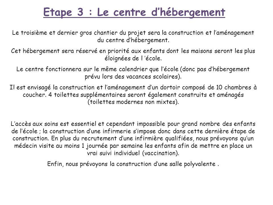 Etape 3 : Le centre d'hébergement