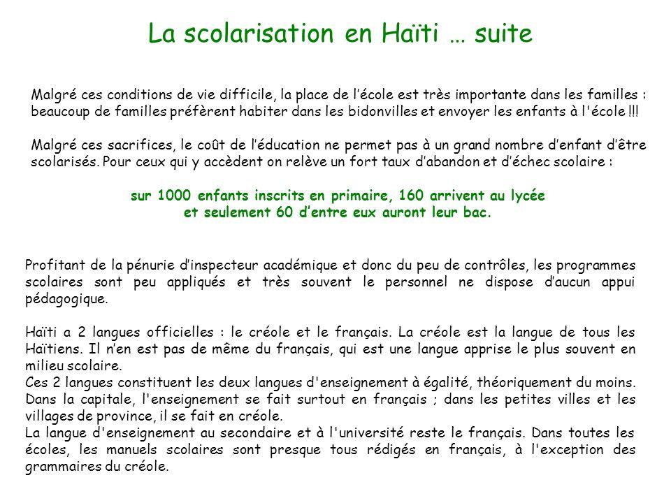 La scolarisation en Haïti … suite