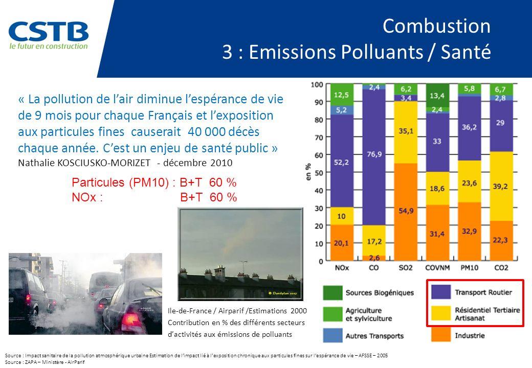 Combustion 3 : Emissions Polluants / Santé