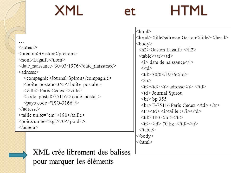 XML et HTML XML crée librement des balises pour marquer les éléments …