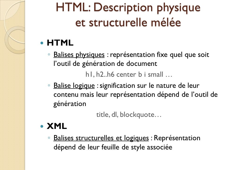 HTML: Description physique et structurelle mélée