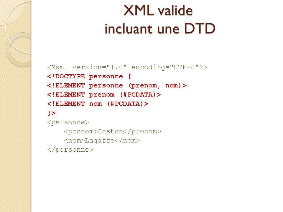 XML valide incluant une DTD