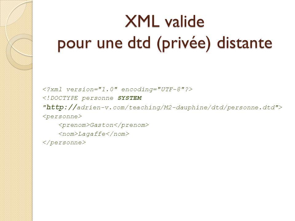XML valide pour une dtd (privée) distante