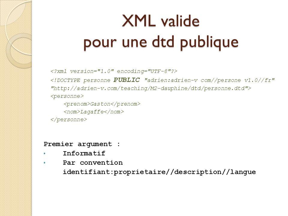 XML valide pour une dtd publique