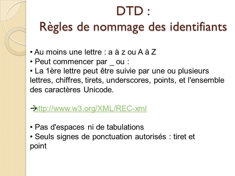 DTD : Règles de nommage des identifiants