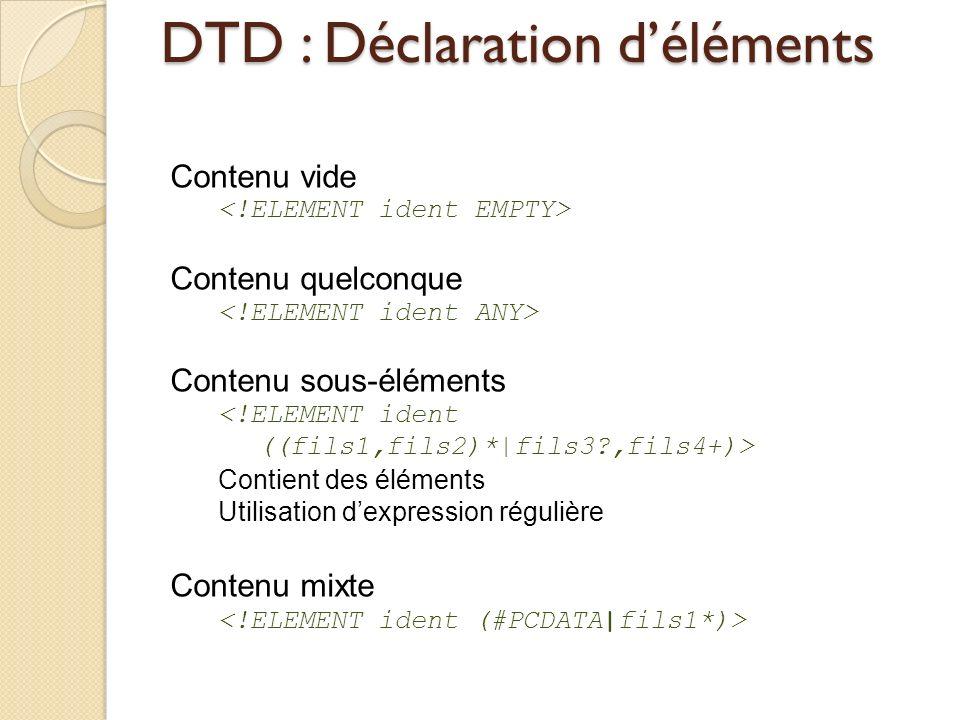 DTD : Déclaration d'éléments