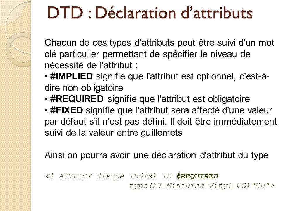 DTD : Déclaration d'attributs