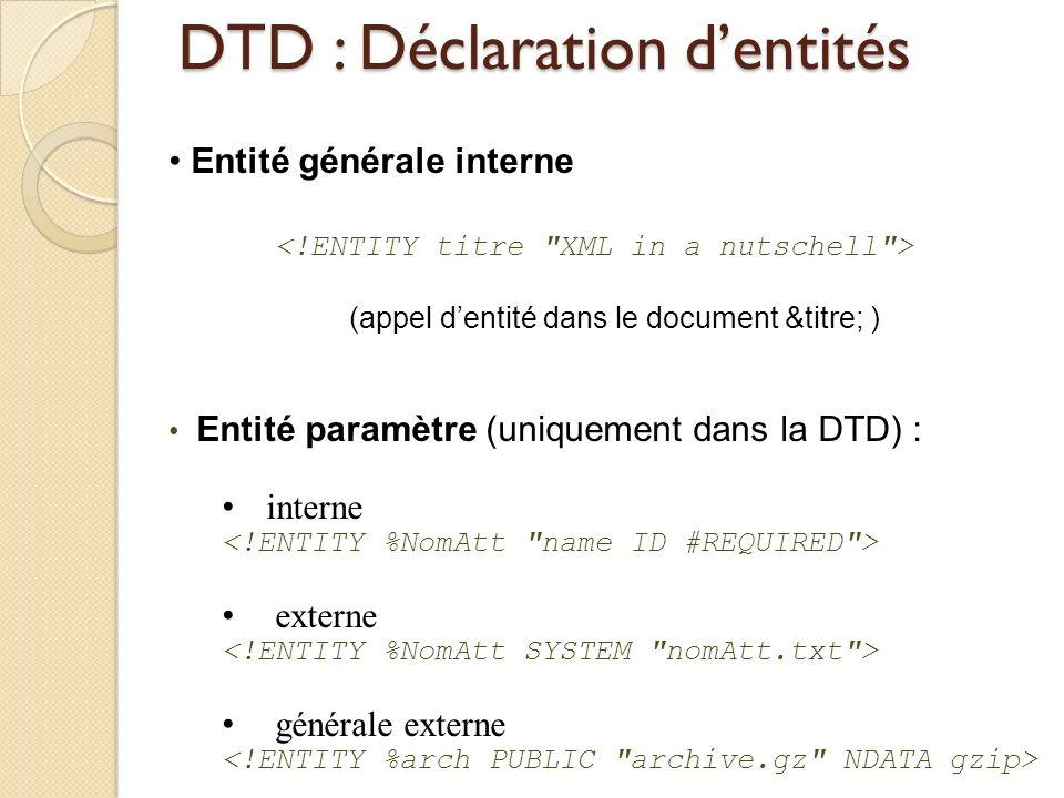 DTD : Déclaration d'entités