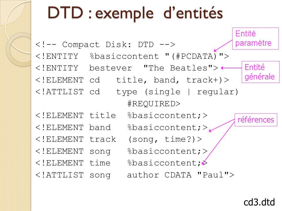 DTD : exemple d'entités