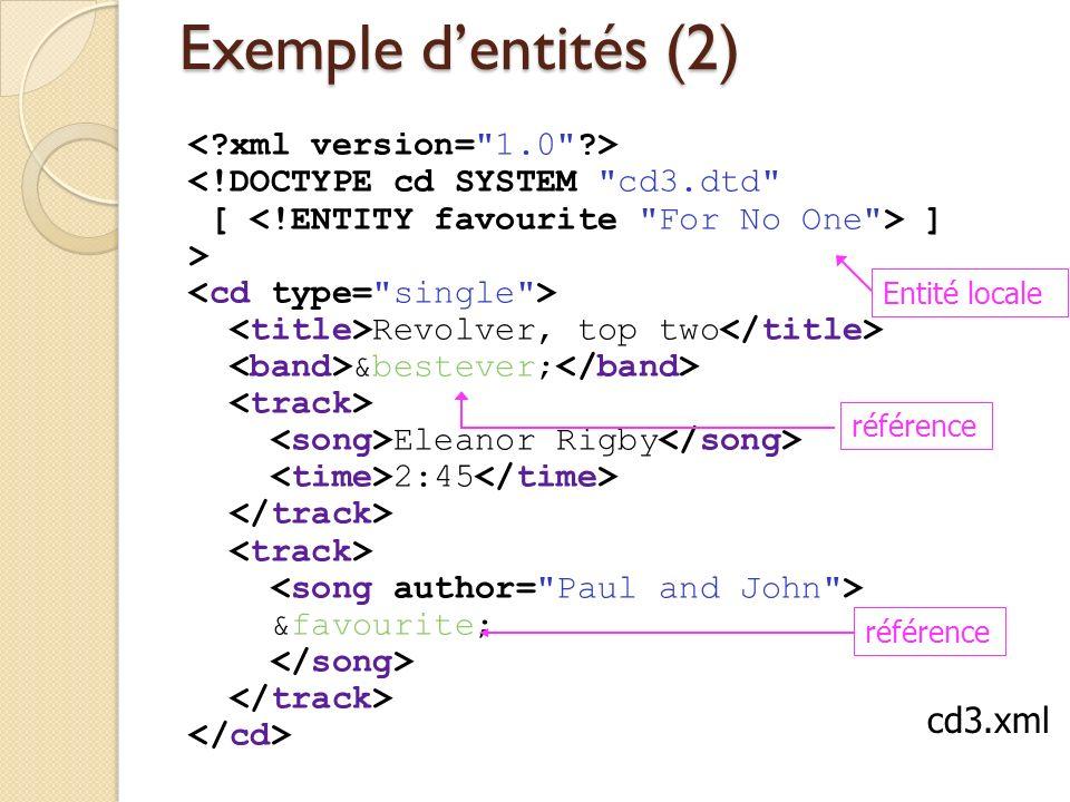 Exemple d'entités (2) cd3.xml < xml version= 1.0 >