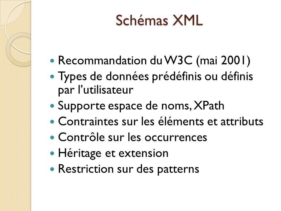 Schémas XML Recommandation du W3C (mai 2001)