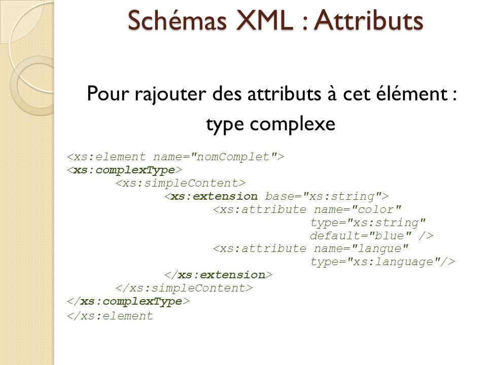 Schémas XML : Attributs