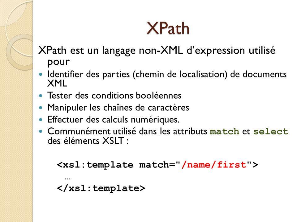 XPath XPath est un langage non-XML d'expression utilisé pour