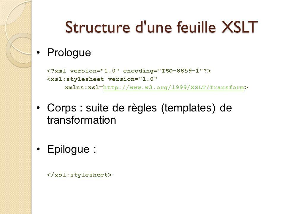 Structure d une feuille XSLT