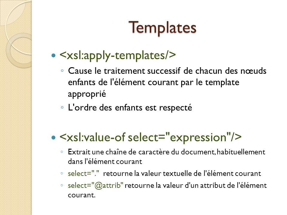 Templates <xsl:apply-templates/>