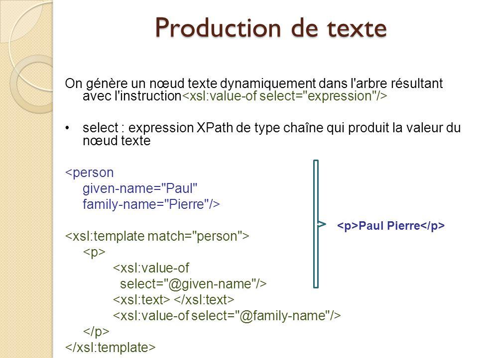 Production de texte On génère un nœud texte dynamiquement dans l arbre résultant avec l instruction<xsl:value-of select= expression />