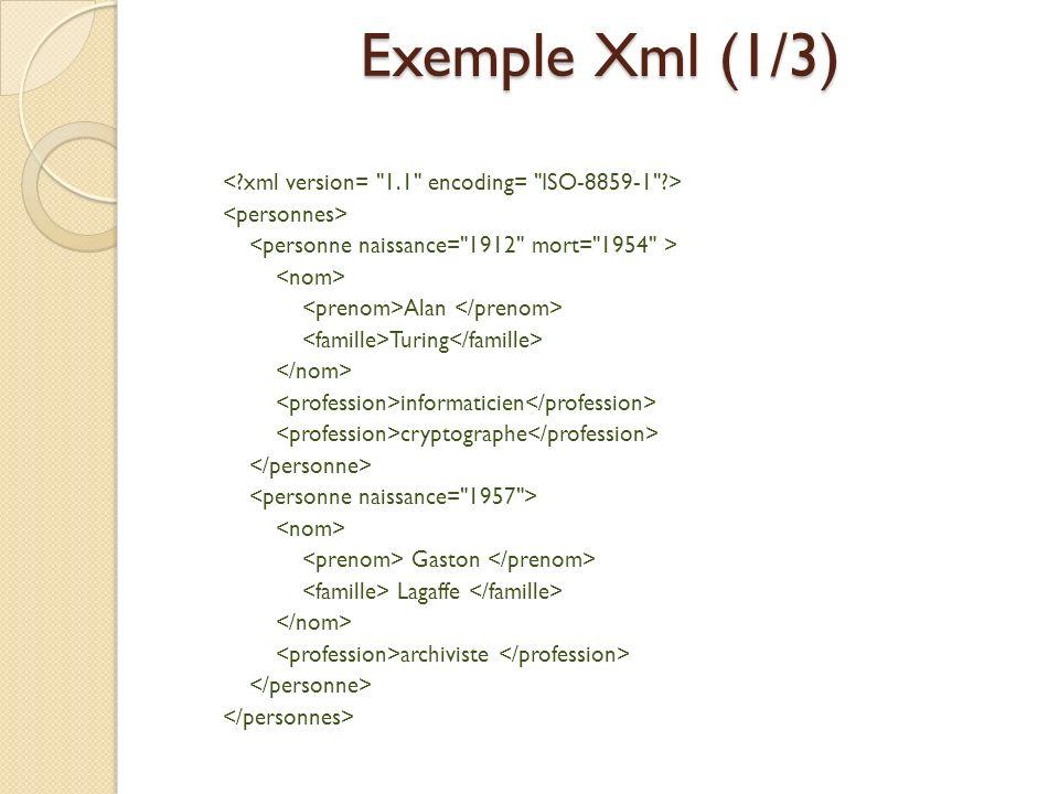 Exemple Xml (1/3) < xml version= 1.1 encoding= ISO-8859-1 >