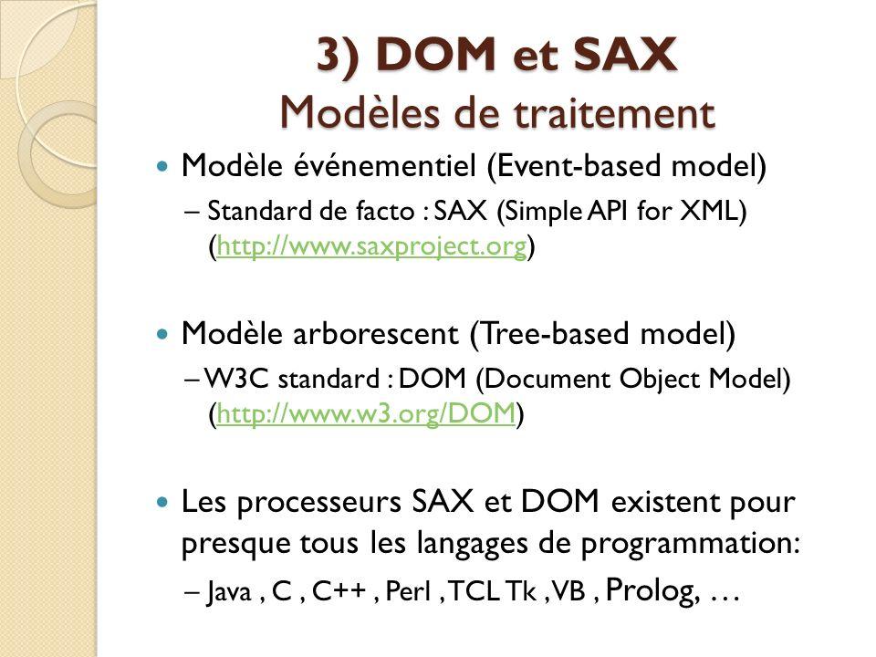 3) DOM et SAX Modèles de traitement